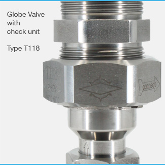Globe valve with check unit Type T118