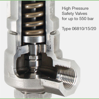 High Pressure Safety Valves Type 06810, 06815, 06820